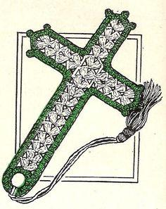 Vintage Crochet Bible Bookmark Pattern Thread Cross.