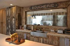 Kitchen made from reclaimed wood.