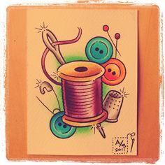 #sewing #watercolor #tattoo by ink.or.die, via Flickr