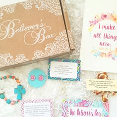 Monthly subscription box for Christian woman. Christian jewelry, encouraging prints and more! Subscription Gifts, Monthly Subscription Boxes, Soil Layers, Christian Families, All Things New, Christian Jewelry, Box Design, Believe, Presents