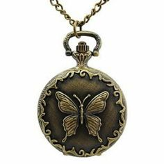 Amazon.com: Akezone Bronze Butterfly Pocket Watch Necklace: Watches