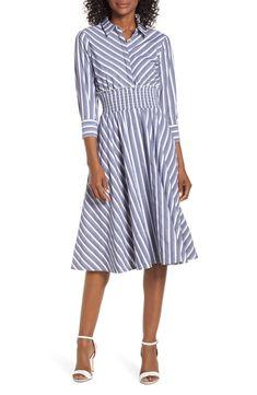 9ddcbc693fe Eliza J Stripe Midi Shirtdress