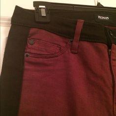 Hudson skinny jeans Maroon with black stripe skinny jeans by Hudson. Hudson Jeans Jeans Skinny