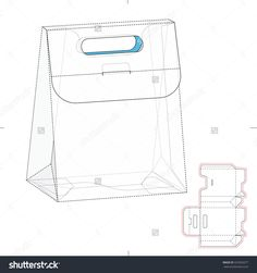 Gusseted Carrier Bag Or Box With Die Cut Template Stock Vector Illustration 337665077 : Shutterstock