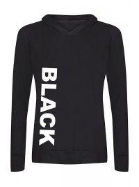Hoodie in ademende Zwart Microfiber met tekst BLACK opdruk en capuchon
