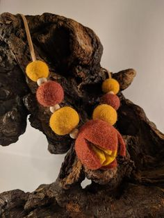 Boho style orange gray felt ball necklace - pendant. Flower pendant. Natural  ecofriendly women's accessories. Wool jewelry. Orange Grey, Gray, Ball Necklace, Felt Ball, Flower Pendant, Boho Style, Women's Accessories, Boho Fashion, Wool