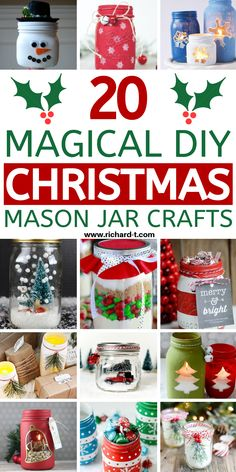 20 Easy and AMAZING Christmas mason jar crafts that you can make yourself! These Christmas mason jars are MAGICAL! Mason Jar Christmas Crafts, Christmas Crafts For Gifts, Homemade Christmas Gifts, Jar Crafts, Christmas Decorations, Christmas Projects, Homemade Gifts, Holiday Decor, Mason Jar Gifts