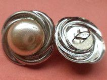 4 METALLKNÖPFE silber 20mm (5830) Knöpfe Metall