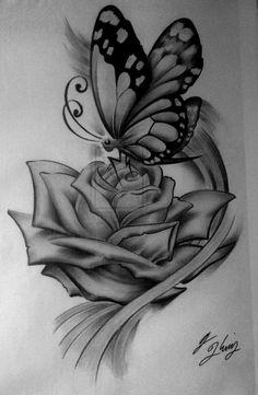 Pin by alaisjah powell on tattoos tattoo designs, flower tat Tattoos 3d, Dream Tattoos, Flower Tattoos, Body Art Tattoos, Hand Tattoos, Small Tattoos, Sleeve Tattoos, Tatoos, Rose And Butterfly Tattoo