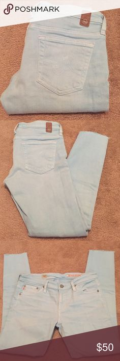 AG Adriano Goldschmied powder blue skinny jeans! Super cute pair of powder blue AG Adriano Goldschmied skinny jeans! Style is Angel boot cut. Pant leg bottoms are seamless for a fray look, but not much wear shown despite being overall gently worn. Some color fading from normal wear but gorgeous overall color. Size 27R. Inseam 25.5 so crop/ankle style. Smoke free home! AG Adriano Goldschmied Jeans Skinny