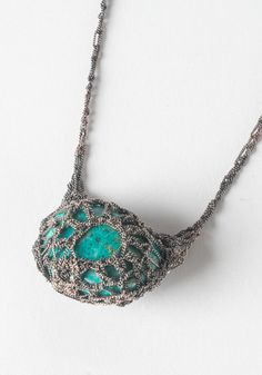 Chrysocolla + Crocheted Necklace by Julia Berg