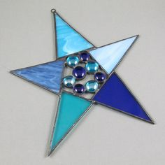 Blue Glass Star Suncatcher  Crafty Star by AngelasGlassStudio, $16.00