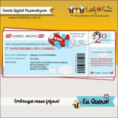 Convite Festa Tema Avião Digital. Em formato de cartão de embarque, super fofo para a festa de seu filhote!
