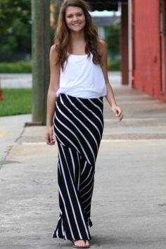 Wild Souls: Black & White Stripe Mermaid Maxi Skirt