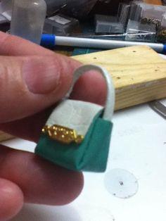 Miniature leather handbag: