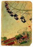 Parque de diversões, uma roda de Ferris. Cartão velho Foto de Stock Royalty Free