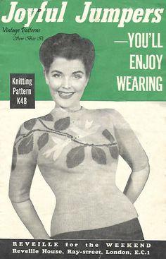 "1950's Vintage Knitting Pattern Reveille Doves Peace Love Bird Jumper PDF 34-36"" #Reveille"