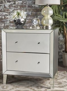 Silver Finish Mirrored Cabinet Beautiful Bedrooms For Couples, Mirror Cabinets, Framing Materials, Dresser As Nightstand, Drawers, It Is Finished, Storage, Wood, Frame