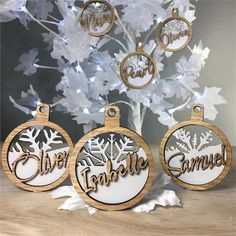 from Figured Out Families. Christmas Shadow Boxes, Christmas Ornament Sets, Christmas Wood, Christmas Decorations To Make, Christmas Crafts, Xmas, Christmas Hanukkah, Cnc, Personalised Christmas Baubles