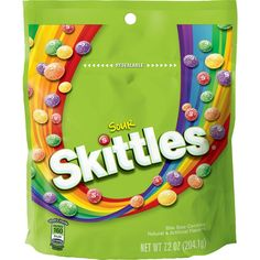 Skittles Sours - Chewy and Gummy Candy Toffee Candy, Chewy Candy, Sour Skittles, Sour Orange, Sour Candy, Variety Of Fruits, Taste The Rainbow, Favorite Candy, Candy Bags