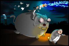 This is Nikola Tesla riding a cat chasing Thomas Edison.