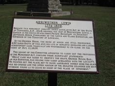 Meriwether Lewis marker and grave/monument along the Natchez Trace; Hohenwald, TN