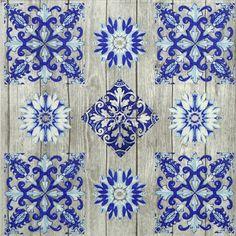4x Paper Napkins for Decoupage Decopatch Craft Blue Tiles