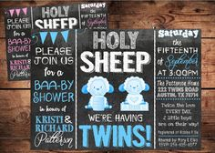 Holy Sheep Baby Shower Invitation - Gender Reveal Invitation - Lamb Baby Shower on Etsy, $20.00