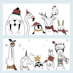 Hand drawn animals enjoying a Christmas holiday , Christmas Doodles, Christmas Drawing, Christmas Paintings, Christmas Art, Winter Christmas, Xmas Drawing, Vector Christmas, Doodle Drawings, Animal Drawings