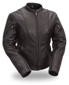 Womens Side Buckled Racer Motorcycle Jacket by First Mfg.  www.mymotorcycleclothing.com