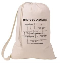 Time To Do The Laundry Arrow Flow Chart Laundry Bag, Humorous Laundry Bag, College Hamper, College Student Gift- Graduation Gift- MCInc