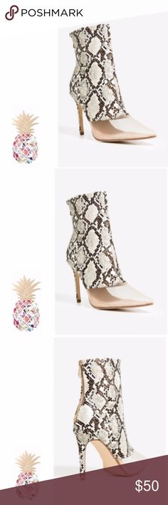 """Snake skin, brown bootie. Size 7.5 A high heel bootie with a snakeskin body and a sheer mesh pointed toe. Wrapped stiletto heel. Full zipped counter. Cushioned insole. Single sole. 4"""" approx. heel height COMING SOON!!! Shoes Ankle Boots & Booties"""