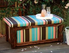 When making an outdoor storage bench it's best to cover it with outdoor waterproof fabric.  The lift-up seat makes it a great place to store stuff and the structure itself is simple so that you can customize it to suit your space.