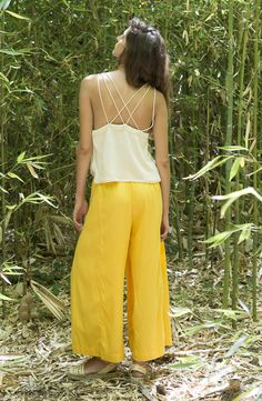 ITZIAR pants 100% tencel Made in Barcelona Yellow pants/ Loose pants  Design and Fashion Suite 13 / Collection nº9