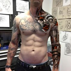 #sketch #wacomtattooteam#digitaltattoos #digitalart #digitalsketch  #cintiq #prototype #bionictattoo  #tattoo  #inklife #mechsleeve #biomechanical #kunst #kunstwerk