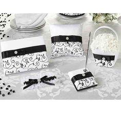Black And White Flower Girl Basket