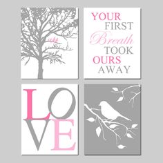 Baby Girl Nursery Art - Birds in a Tree Your First Breath Took Ours Away Love Bird on a Branch - Set of Four 11x14 Prints - PInk and Gray