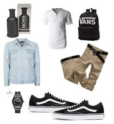 """Untitled #87"" by ericap61720 on Polyvore featuring Topman, LE3NO, Vans, BOSS Hugo Boss, men's fashion and menswear"