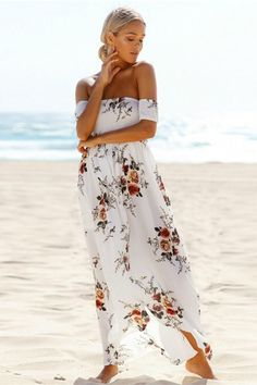 44ed4f56b502 Delilah Waves Maxi Dress - White Beach Dresses, Bohemian Dresses, Boho Floral  Dress,