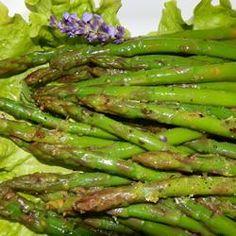 2 pounds fresh asparagus 3/4 cup olive oil Blanch asparagus: 1 tablespoon sugar 1/2 cup white balsamic vinegar 4 garlic cloves, minced 1 teaspoon red pepper flakes marinate 8 hrs.
