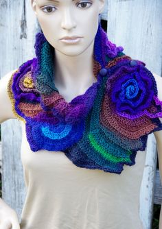 Crochet Scarf Shadows purple green blue Freeform crochet Neck Warmer Roses Womens Unique Capelet Womens scarf Freeform Crochet scarf Gift