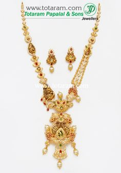 22K Gold 'Peacock' Long Necklace & Earrings Set With Ruby - GS2509 - Indian Jewelry from Totaram Jewelers