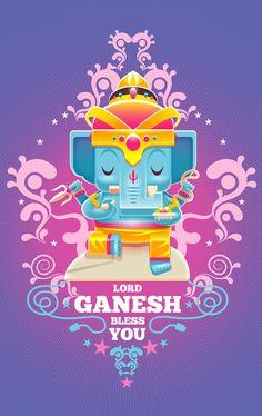 Lord Ganesh Bless You by Alongkorn Sanguansook, via Behance Arte Ganesha, Shri Ganesh, Krishna Art, Durga, Yoga Studio Design, Buda Wallpaper, Yoga Inspiration, Ganesh Lord, Lord Shiva