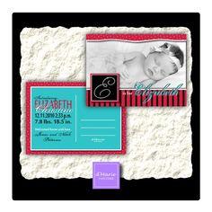 50 printed Custom Photo Baby Girl Announcement Postcards- Diamond Initial on Etsy, $43.95