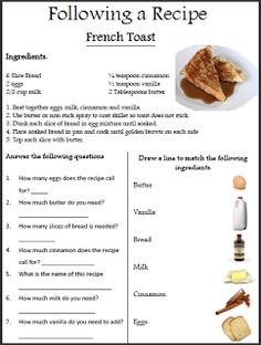 10 pack practice worksheets will need to use this in class next reading a recipe worksheet delibertad forumfinder Image collections