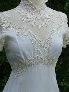 Wedding dress 1970s vintage gown fitted bodice fab lace appliques on chiffon. $425.00, via Etsy.
