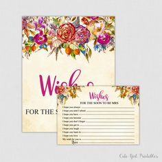 Wishes for the Soon to Be Mrs Game - Floral & Flowers Printable Bridal Shower Wishes for the Bride to Be - Printable Bridal Shower - 0011P