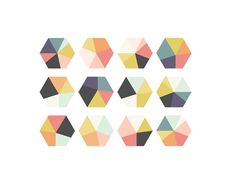 geometric pastel hexagons pack of 3 or 8 tiny by pepperink on Etsy