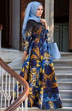 Muslima Wear Kelebek Desen Tivil Abiye Elbise 35006 Saks