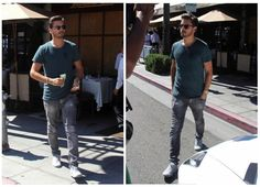 Scott Disick Drives White Lamborghini Aventador wearing Balmain T-shirt and Common Projects Sneakers